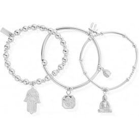 Silver Karma Set Of 3 Bracelet Stack