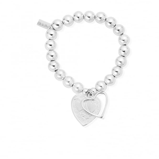 ChloBo Silver Medium Ball Decorated Hearts Bracelet