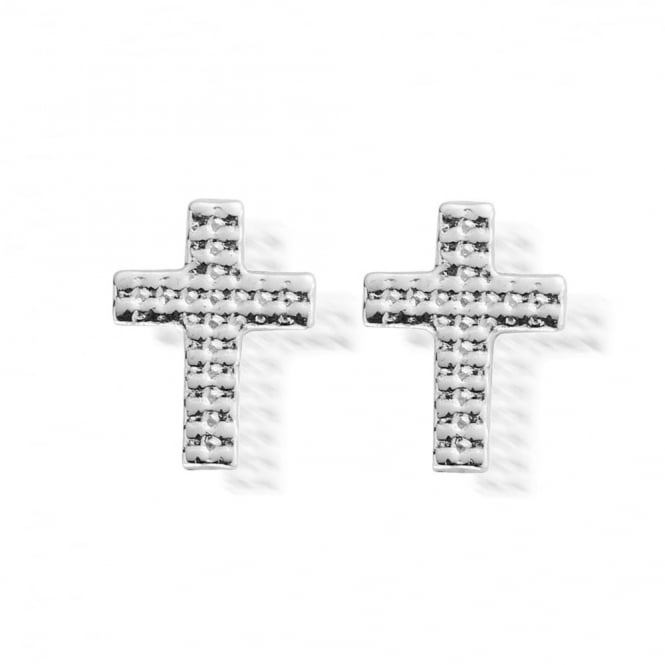 ChloBo Silver Mini Cross Stud Earrings