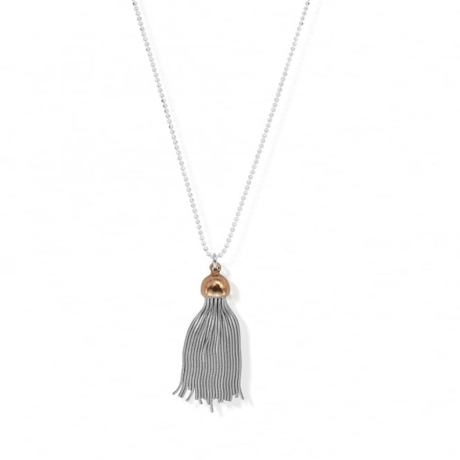 ChloBo Silver & Rose Capped Tassel Necklace
