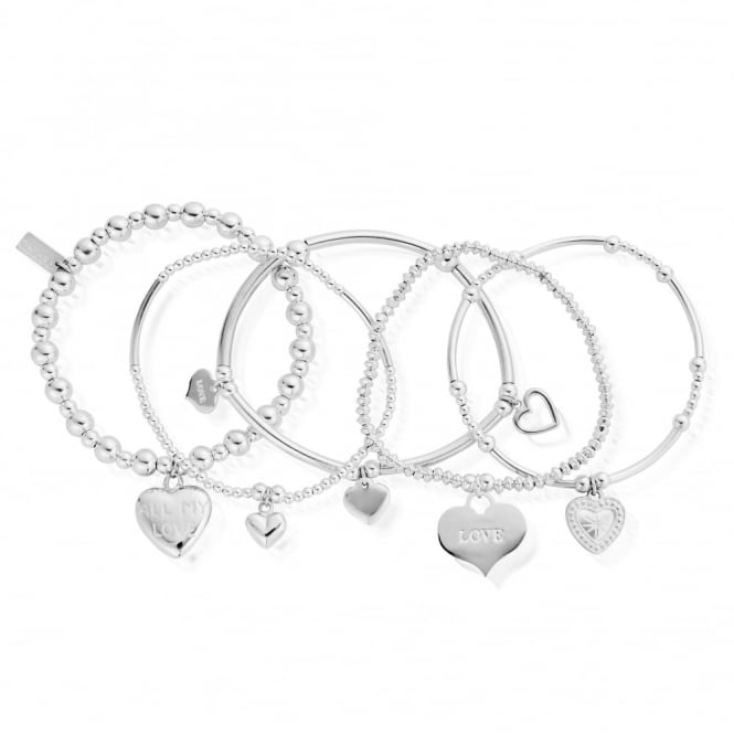 ChloBo Silver Set Of 5 Love Bracelet Stack