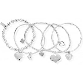 Silver Set Of 5 Love Bracelet Stack