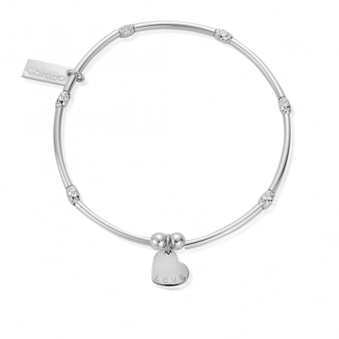 ChloBo Silver Sparkle Rice Love Heart Bracelet