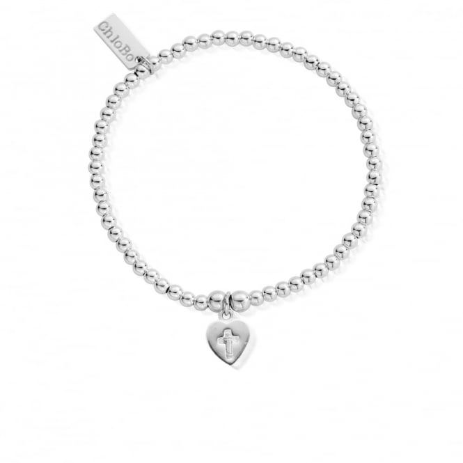 ChloBo Sterling Silver Cross In Heart Charm Bracelet