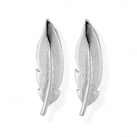 Sterling Silver Cuff Feather Earrings