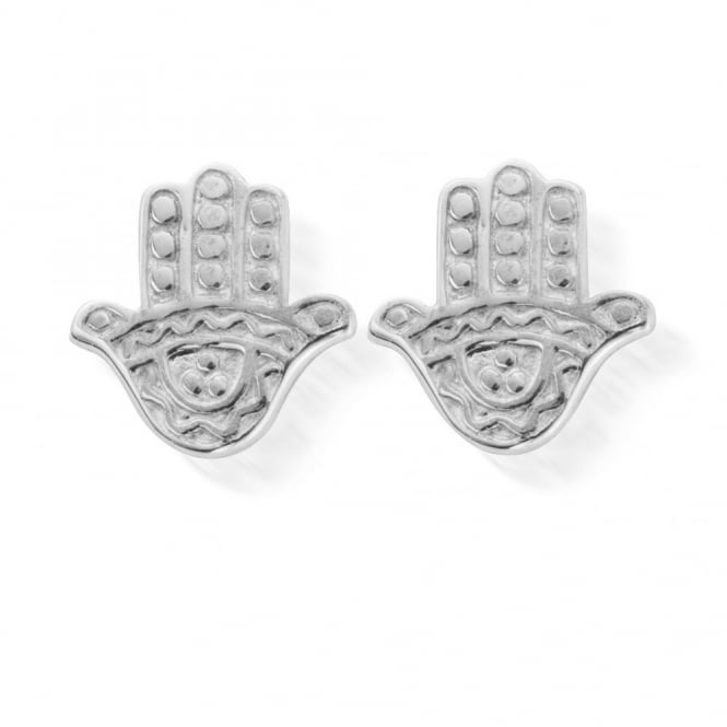ChloBo Sterling Silver Cute Decorated Hamsa Hand Stud Earrings