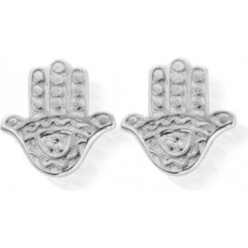 Sterling Silver Cute Decorated Hamsa Hand Stud Earrings