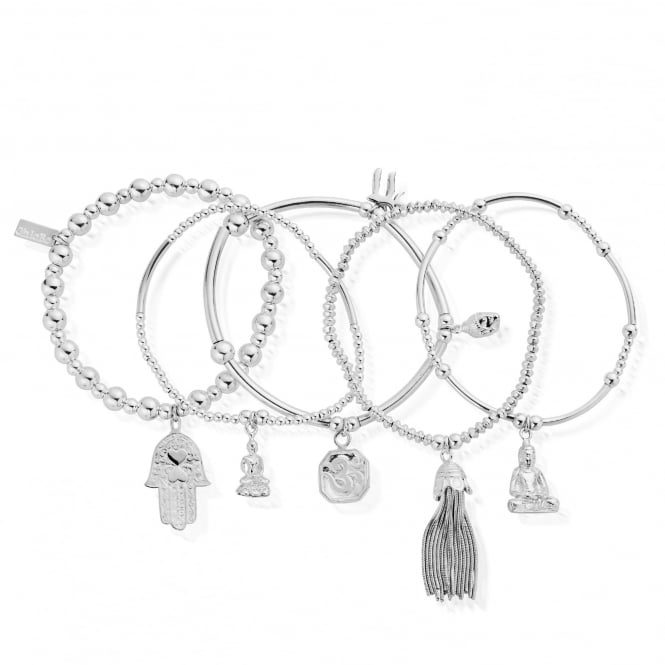 ChloBo Sterling Silver Karma Set Of 5 Stack