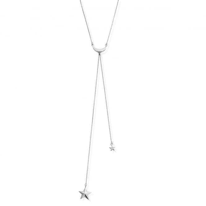 ChloBo Sterling Silver Moon & Star Lariot Necklace