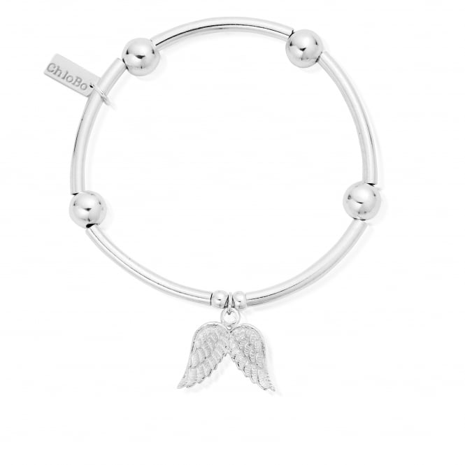ChloBo Sterling Silver Noodle Ball Angel Wing Bracelet