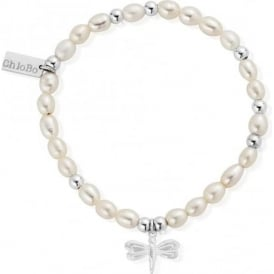 Sterling Silver & Pearl Dragonfly Mini Bracelet