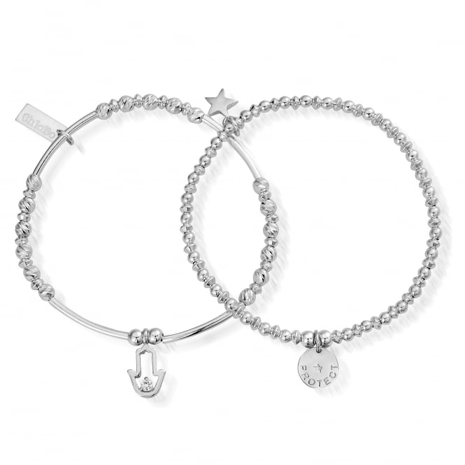 ChloBo Sterling Silver Protection Set Of 2 Stack