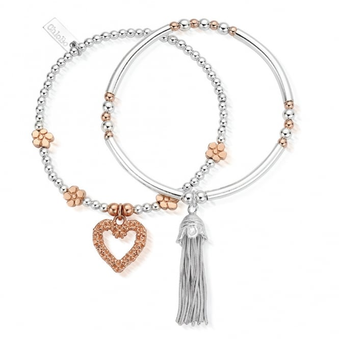 ChloBo Sterling Silver & Rose Gold Love You More Set of 2 Stack