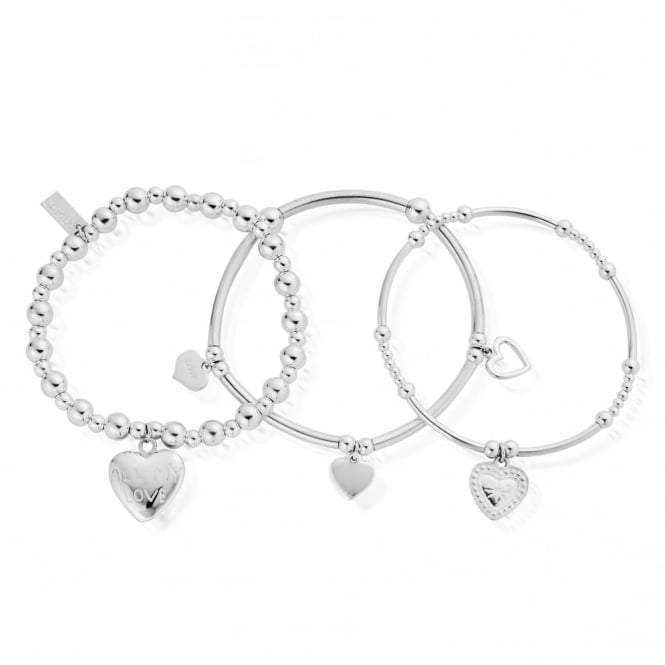 ChloBo Sterling Silver Stack Set Of 3 Love Bracelets