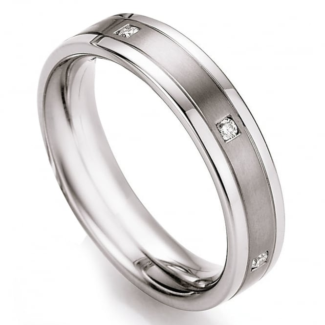 Collection Ruesch Steel & Titanium 0.12ct Diamond Set Wedding Ring