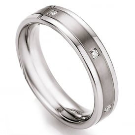 Steel & Titanium 0.12ct Diamond Set Wedding Ring