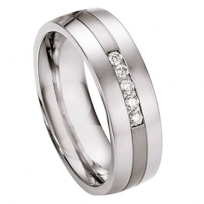 Collection Ruesch Steel & Titanium Diamond Set Wedding Ring