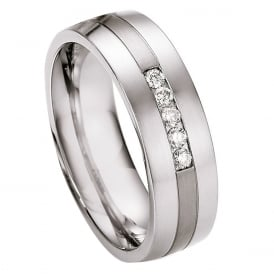 Steel & Titanium Diamond Set Wedding Ring
