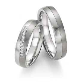 Steel & Titanium Diamond Wedding Ring