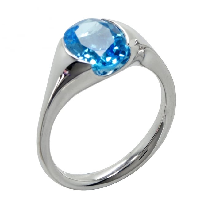 Cornerstone Creations Sterling Silver Chunky Blue Topaz Parade Ring