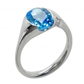 Sterling Silver Chunky Blue Topaz Parade Ring