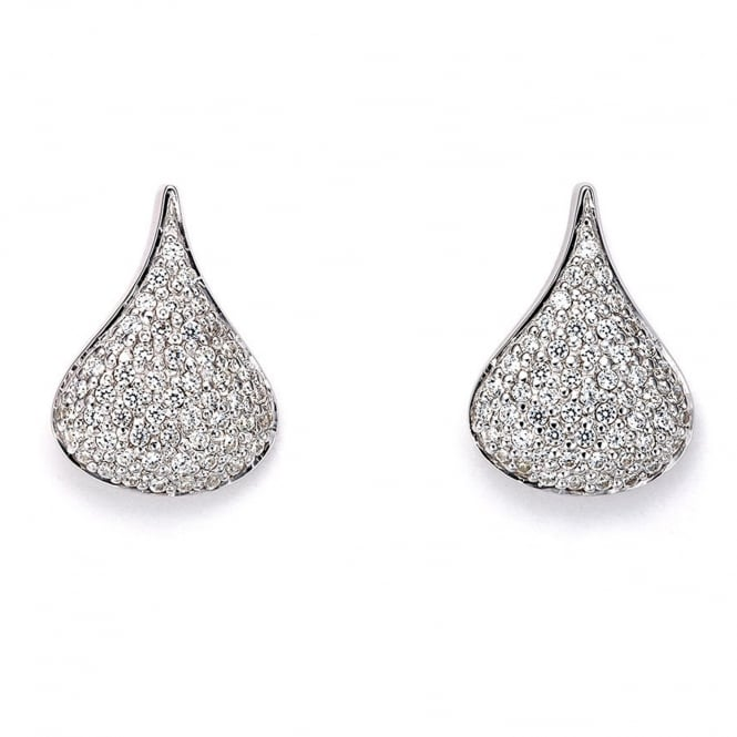 Cornerstone Creations Sterling Silver Cradle Pave Stud Earrings