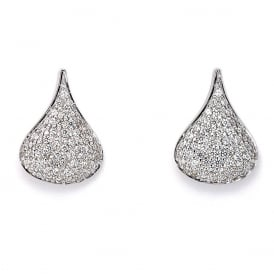 Sterling Silver Cradle Pave Stud Earrings