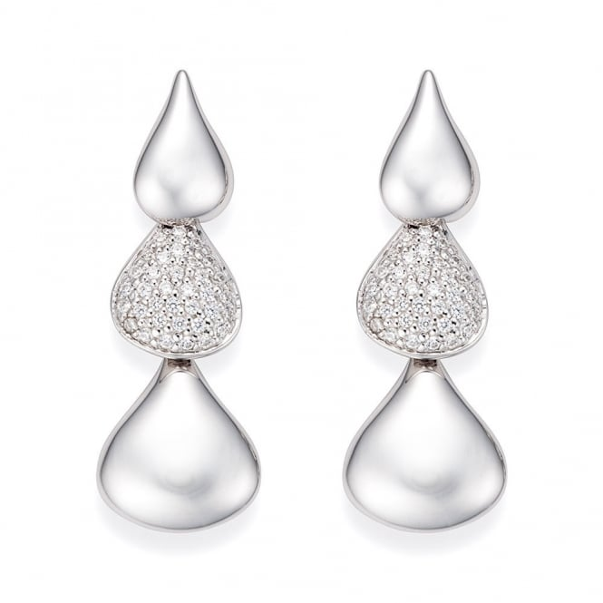 Cornerstone Creations Sterling Silver Linked Droplet Pave Earrings