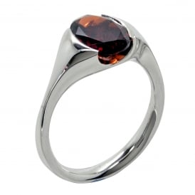 Sterling Silver Red Garnet Parade Ring