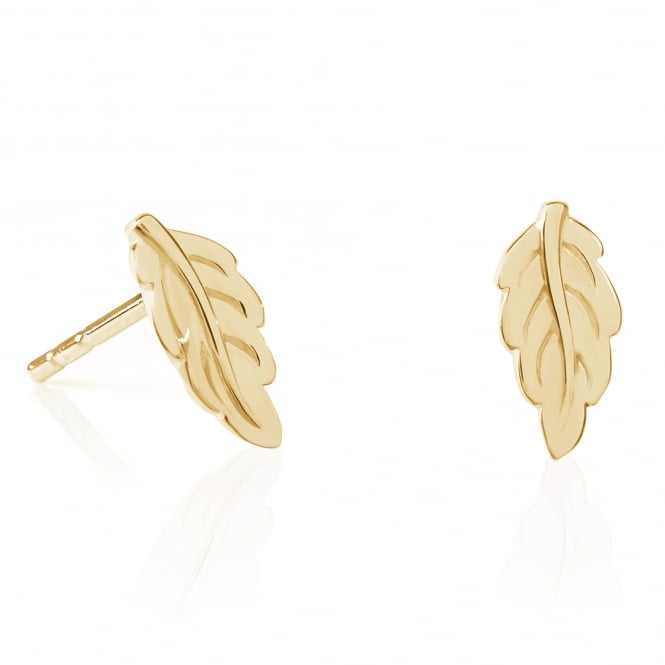 Daisy London 18ct Gold Plate Mulberry Leaf Stud Earrings