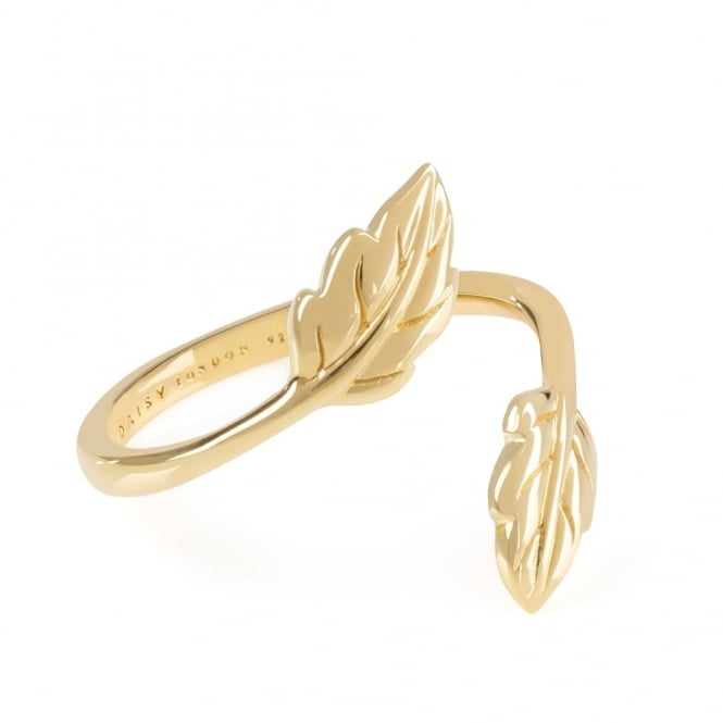 Daisy London 18ct Yellow Gold Plated Double Leaf Ring