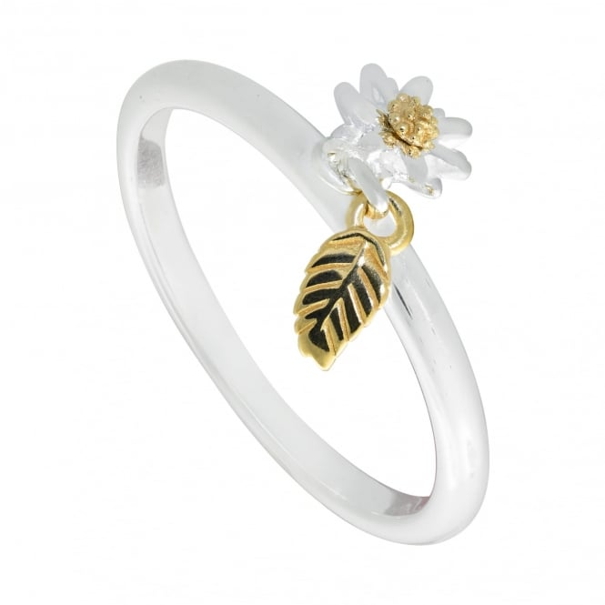 Daisy London 6mm Bellis Daisy & Feather Drop Charm Ring