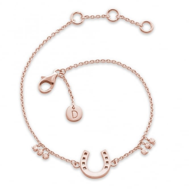 Daisy London Rose Gold Horseshoe Good Karma Bracelet
