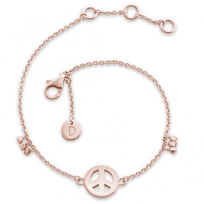 Daisy London Rose Gold Peace Good Karma Chain Bracelet