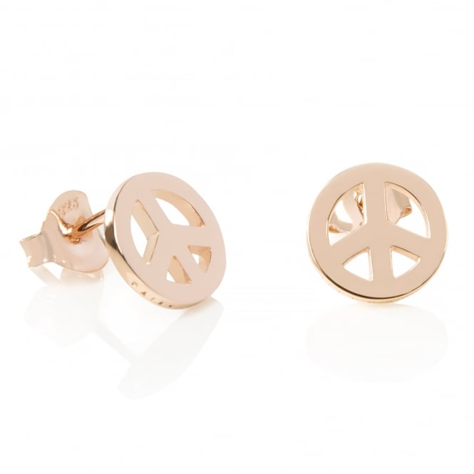 Daisy London Rose Gold Peace Sign Good Karma Stud Earrings