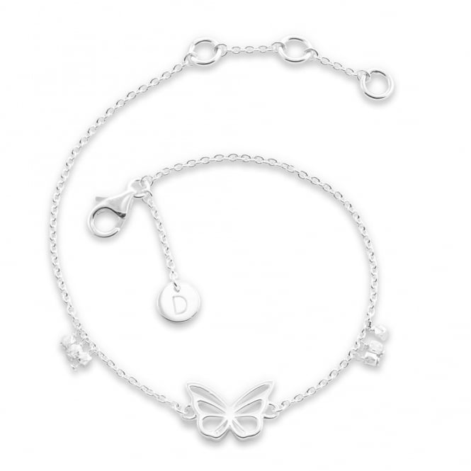 Daisy London Silver Butterfly Good Karma Chain Bracelet