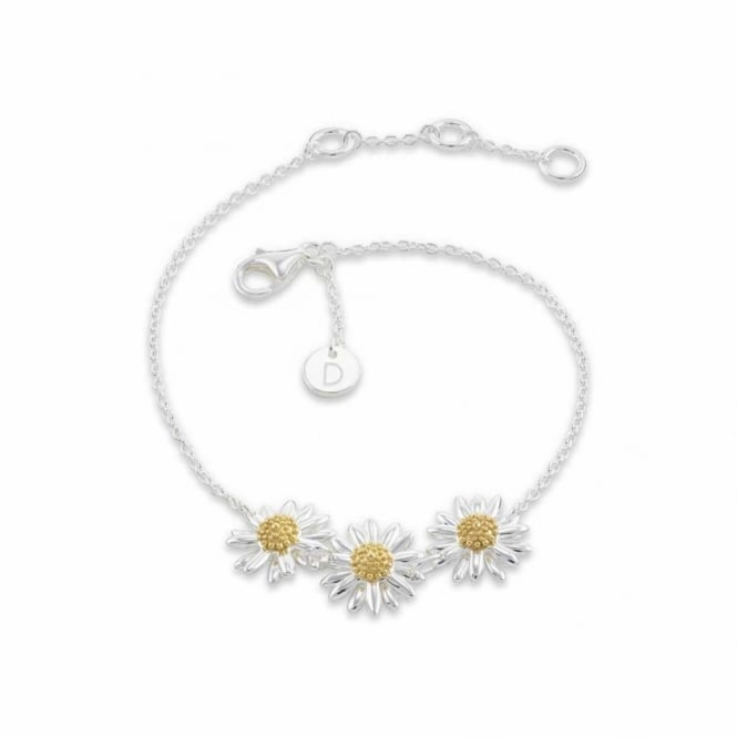 Daisy London Sterling Silver 10mm Triple Daisy Chain Bracelet