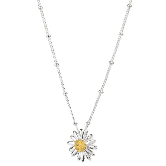 Daisy London Sterling Silver 15mm English Daisy Bobble Necklace