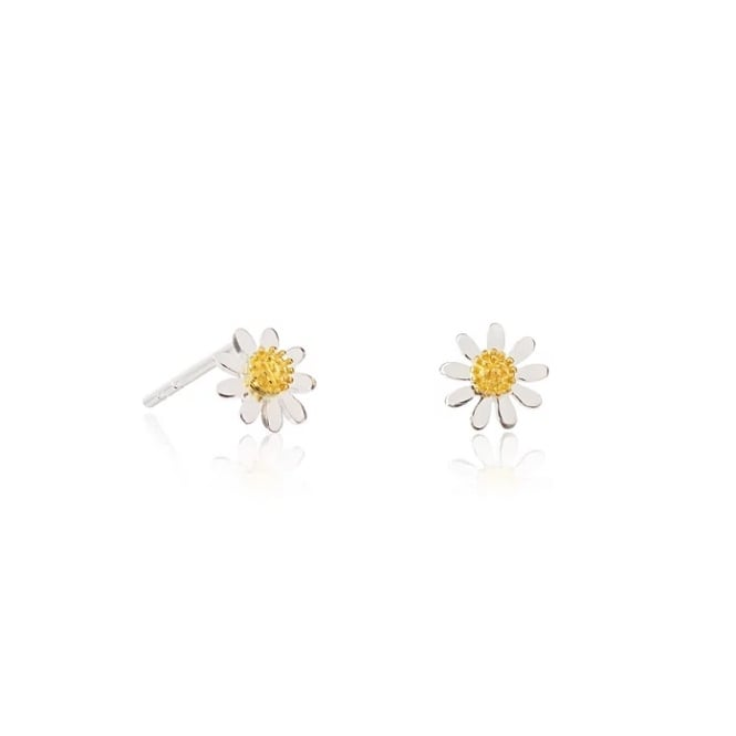 Daisy London Sterling Silver 6mm Marguerite Daisy Stud Earrings