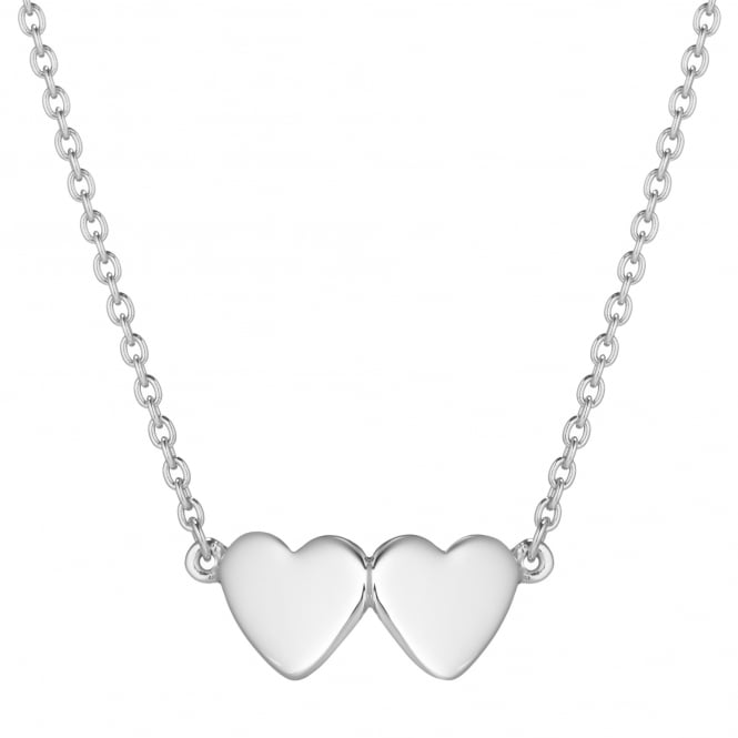 Daisy London Sterling Silver Double Heart Good Karma Necklace