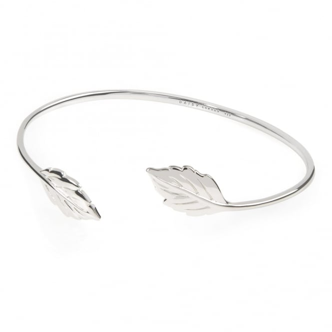 Daisy London Sterling Silver Double Leaf Bangle