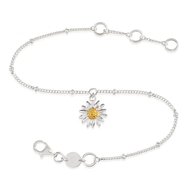 Daisy London Sterling Silver English Daisy Drop Bobble Bracelet