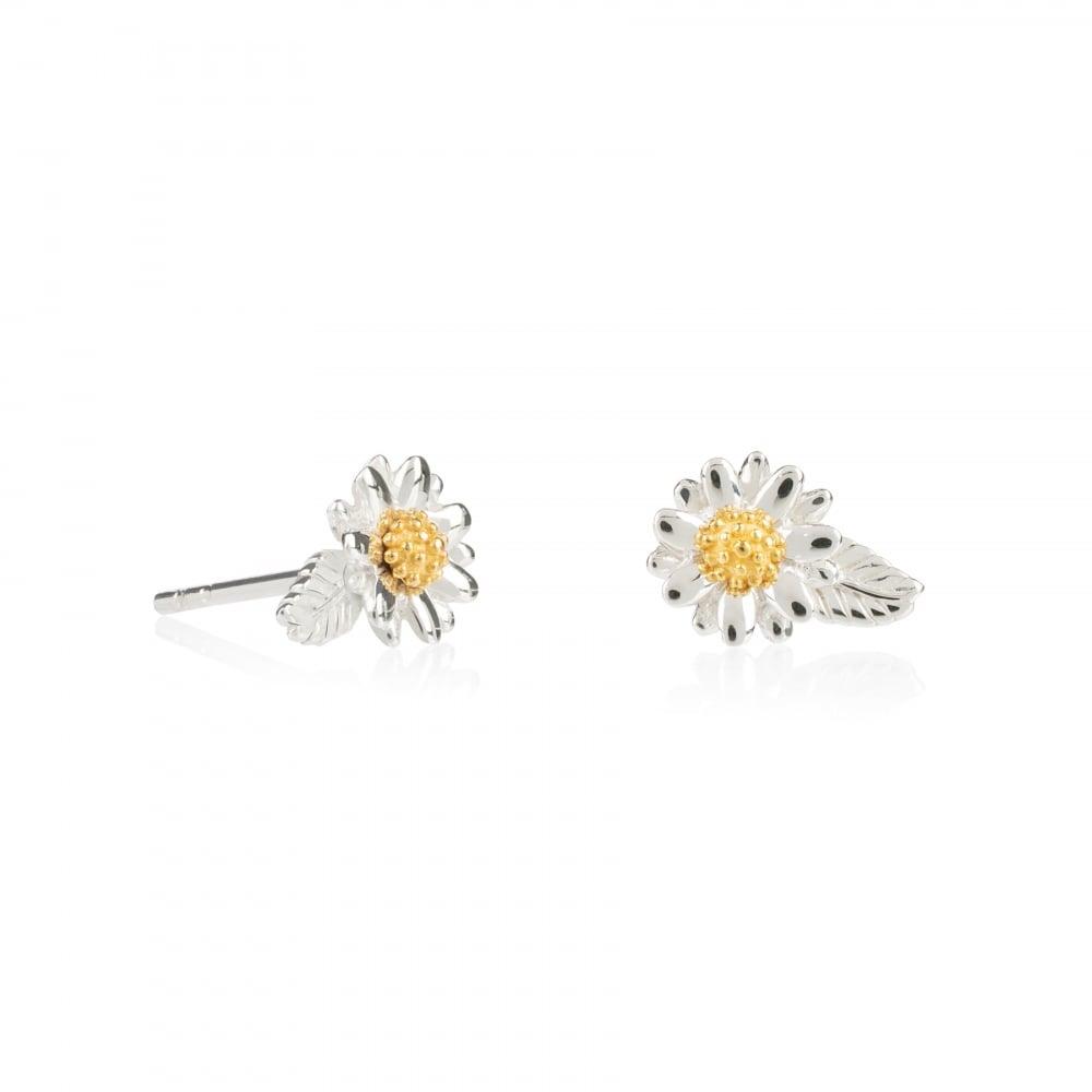 b2d4d58be0889d Sterling Silver English Daisy & Leaf Stud Earrings