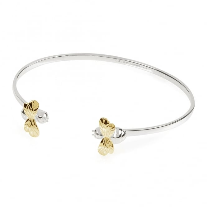 Daisy London Sterling Silver & Gold Double Bee Bangle