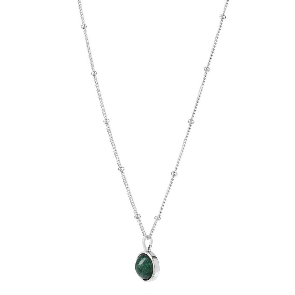 Green Gemstone Silver Necklace