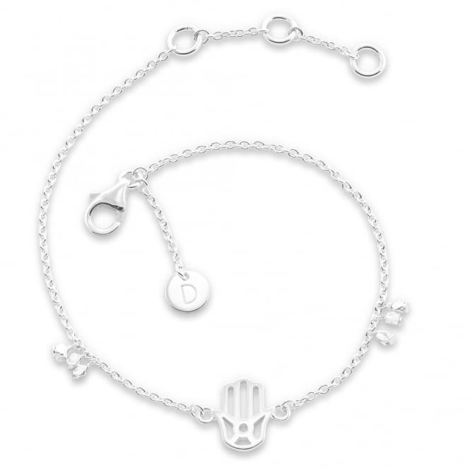 Daisy London Sterling Silver Hand Of Fatima Good Karma Bracelet