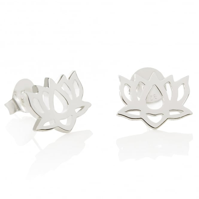 Daisy London Sterling Silver Lotus Flower Good Karma Stud Earrings