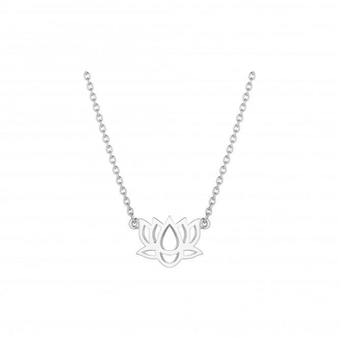 Daisy London Sterling Silver Lotus Good Karma Chain Necklace