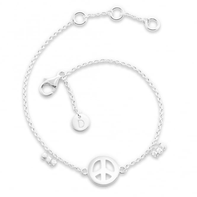 Daisy London Sterling Silver Peace Sign Good Karma Bracelet