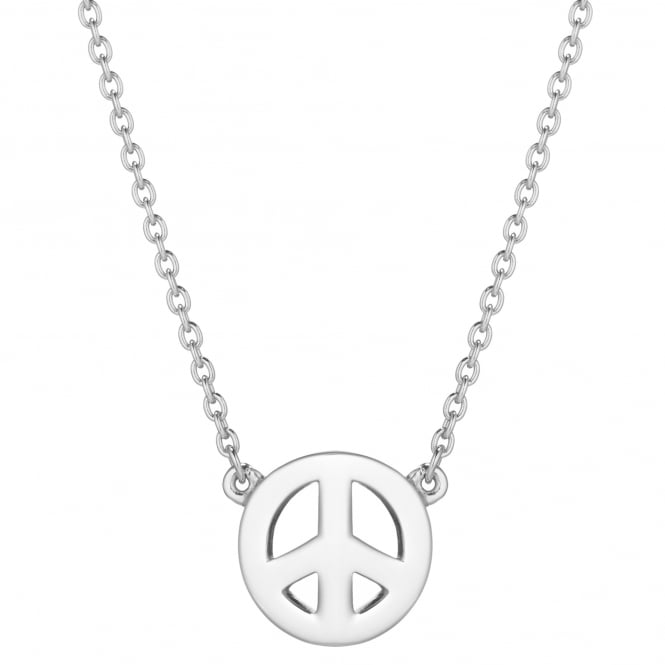 Daisy London Sterling Silver Peace Sign Good Karma Necklace